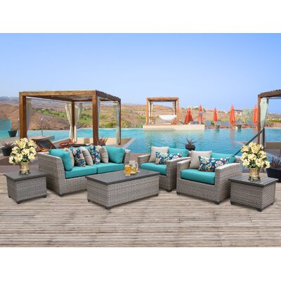 Florence Outdoor Wicker 7 Piece Deep Seating Group with Cushion Fabric: Aruba