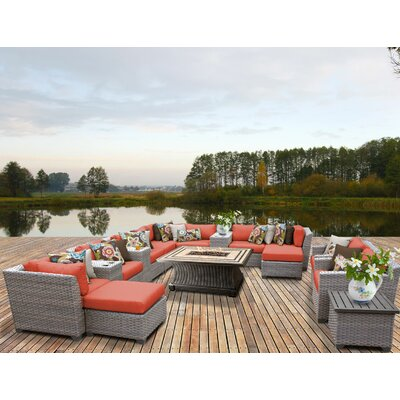 Florence Outdoor Wicker 17 Piece Fire Pit Seating Group with Cushion Fabric: Tangerine