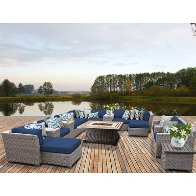 Florence Outdoor Wicker 17 Piece Fire Pit Seating Group with Cushion Fabric: Navy