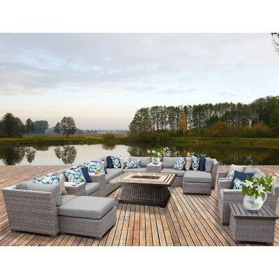 Florence Outdoor Wicker 17 Piece Fire Pit Seating Group with Cushion Fabric: Gray