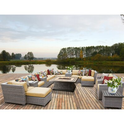 Florence Outdoor Wicker 17 Piece Fire Pit Seating Group with Cushion Fabric: Sesame