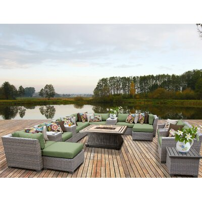 Florence Outdoor Wicker 17 Piece Fire Pit Seating Group with Cushion Fabric: Cilantro