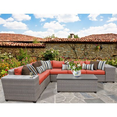 Florence Outdoor Wicker 9 Piece Deep Seating Group with Cushion Fabric: Tangerine