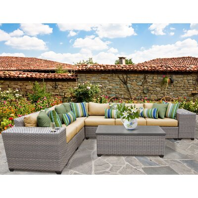 Florence Outdoor Wicker 9 Piece Deep Seating Group with Cushion Fabric: Sesame
