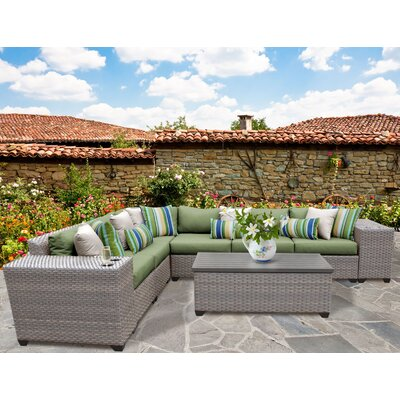 Florence Outdoor Wicker 9 Piece Deep Seating Group with Cushion Fabric: Cilantro
