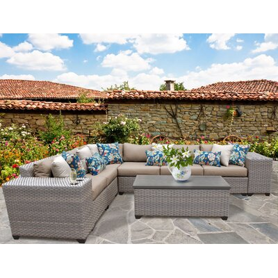 Florence Outdoor Wicker 9 Piece Deep Seating Group with Cushion Fabric: Wheat