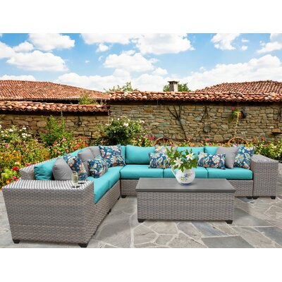 Florence Outdoor Wicker 9 Piece Deep Seating Group with Cushion Fabric: Aruba