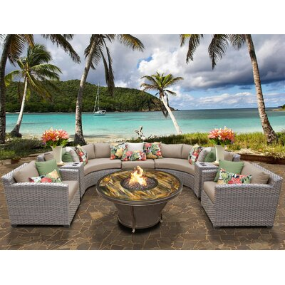 Florence Outdoor Wicker 8 Piece Fire Pit Seating Group with Cushion Fabric: Wheat