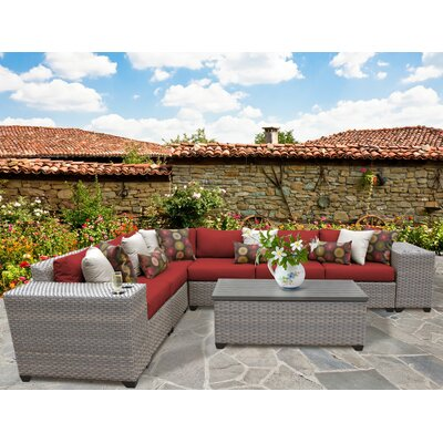 Florence Outdoor Wicker 9 Piece Deep Seating Group with Cushion Fabric: Terracotta