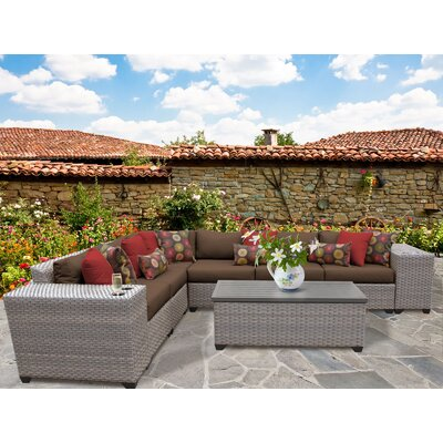 Florence Outdoor Wicker 9 Piece Deep Seating Group with Cushion Fabric: Cocoa