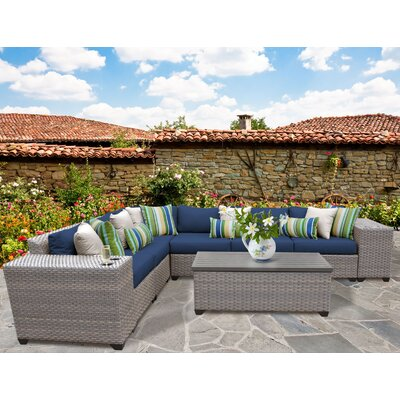 Florence Outdoor Wicker 9 Piece Deep Seating Group with Cushion Fabric: Navy