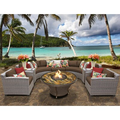 Florence Outdoor Wicker 8 Piece Fire Pit Seating Group with Cushion Fabric: Cocoa