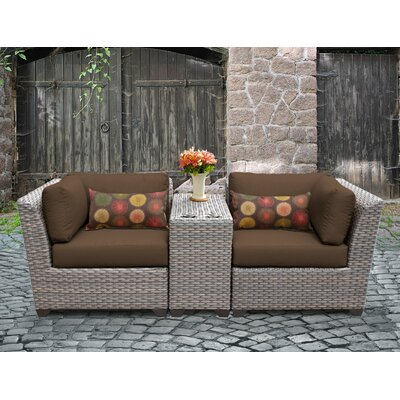Florence Outdoor Wicker 3 Piece Lounge Seating Group with Cushion Fabric: Cocoa