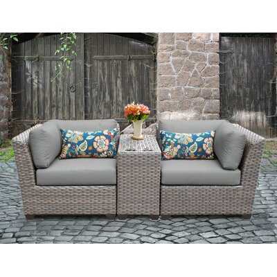 Florence Outdoor Wicker 3 Piece Lounge Seating Group with Cushion Fabric: Gray