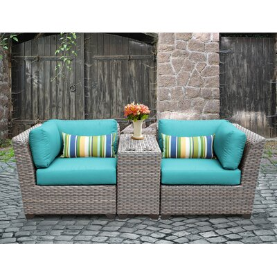 Florence Outdoor Wicker 3 Piece Lounge Seating Group with Cushion Fabric: Aruba