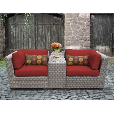 Florence Outdoor Wicker 3 Piece Lounge Seating Group with Cushion Fabric: Terracotta