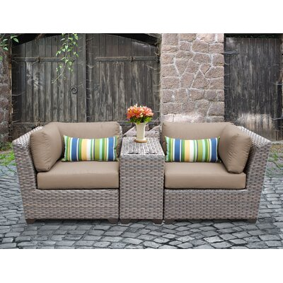 Florence Outdoor Wicker 3 Piece Lounge Seating Group with Cushion Fabric: Wheat