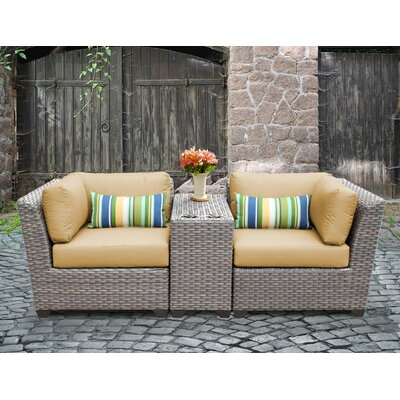 Florence Outdoor Wicker 3 Piece Lounge Seating Group with Cushion Fabric: Sesame