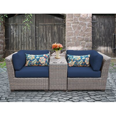 Florence Outdoor Wicker 3 Piece Lounge Seating Group with Cushion Fabric: Navy