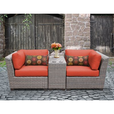 Florence Outdoor Wicker 3 Piece Lounge Seating Group with Cushion Fabric: Tangerine