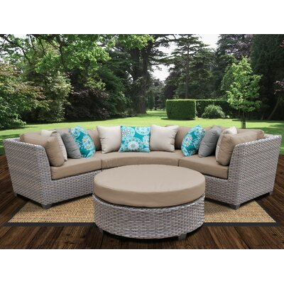Florence Outdoor Wicker 4 Piece Deep Seating Group with Cushion Fabric: Wheat