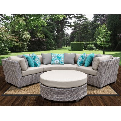 Florence Outdoor Wicker 4 Piece Deep Seating Group with Cushion Fabric: Beige