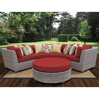Florence Outdoor Wicker 4 Piece Deep Seating Group with Cushion Fabric: Terracotta