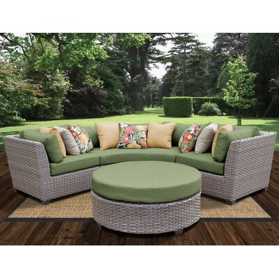 Florence Outdoor Wicker 4 Piece Deep Seating Group with Cushion Fabric: Cilantro