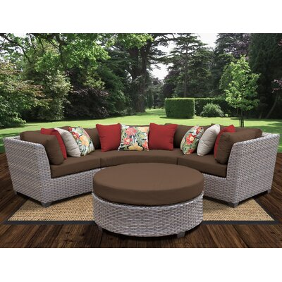 Florence Outdoor Wicker 4 Piece Deep Seating Group with Cushion Fabric: Cocoa
