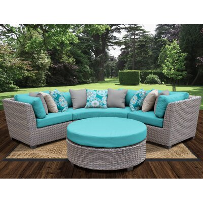 Florence Outdoor Wicker 4 Piece Deep Seating Group with Cushion Fabric: Aruba