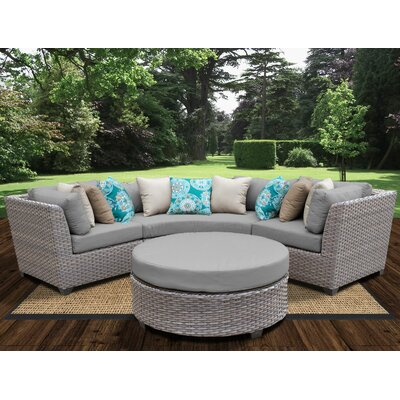 Florence Outdoor Wicker 4 Piece Deep Seating Group with Cushion Fabric: Gray