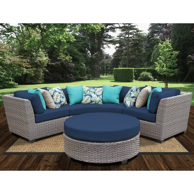 Florence Outdoor Wicker 4 Piece Deep Seating Group with Cushion Fabric: Navy