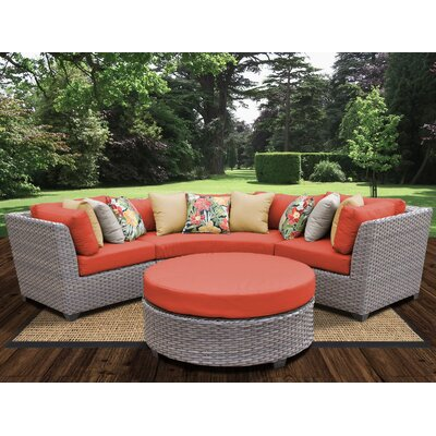 Florence Outdoor Wicker 4 Piece Deep Seating Group with Cushion Fabric: Tangerine