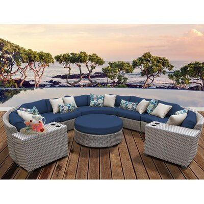 Florence Outdoor Wicker 8 Piece Sectional Seating Group with Cushion Fabric: Navy