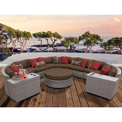 Florence Outdoor Wicker 8 Piece Sectional Seating Group with Cushion Fabric: Cocoa