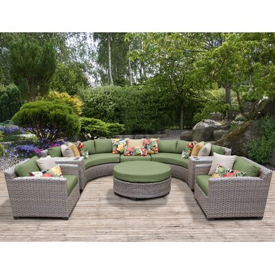 Florence Outdoor Wicker 8 Piece Sectional Seating Group with Cushion Fabric: Cilantro