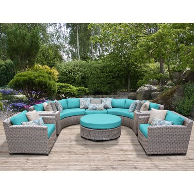 Florence Outdoor Wicker 8 Piece Sectional Seating Group with Cushion Fabric: White