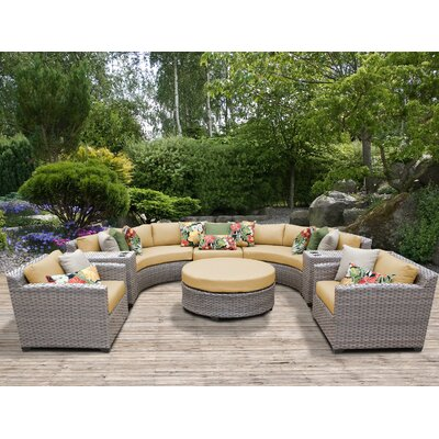 Florence Outdoor Wicker 8 Piece Sectional Seating Group with Cushion Fabric: Sesame