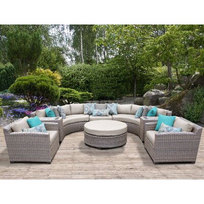 Florence Outdoor Wicker 8 Piece Sectional Seating Group with Cushion Fabric: Beige