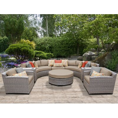 Florence Outdoor Wicker 8 Piece Sectional Seating Group with Cushion Fabric: Wheat