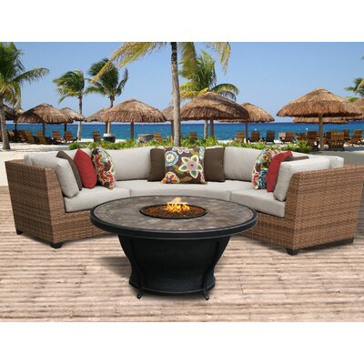 Laguna Outdoor Wicker 4 Piece Fire Pit Seating Group with Cushion Fabric: Beige