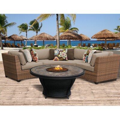 Laguna Outdoor Wicker 4 Piece Fire Pit Seating Group with Cushion Fabric: Wheat
