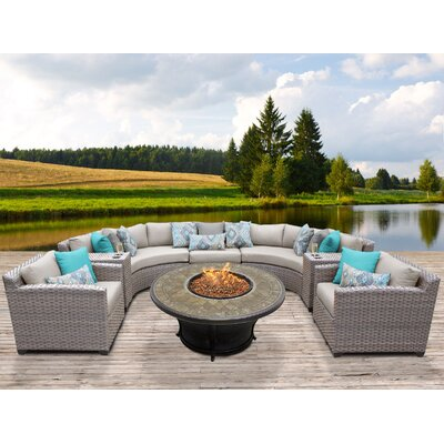 Florence Outdoor Wicker 8 Piece Fire Pit Seating Group with Cushion Fabric: Beige