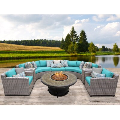 Florence Outdoor Wicker 8 Piece Fire Pit Seating Group with Cushion Fabric: White