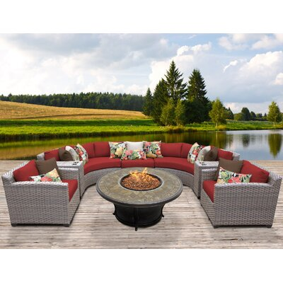 Florence Outdoor Wicker 8 Piece Fire Pit Seating Group with Cushion Fabric: Terracotta