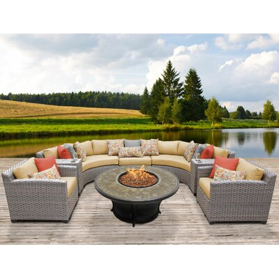 Florence Outdoor Wicker 8 Piece Fire Pit Seating Group with Cushion Fabric: Sesame