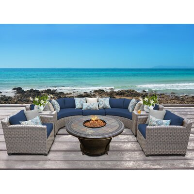 Florence Outdoor Wicker 8 Piece Fire Pit Seating Group with Cushion Fabric: Navy