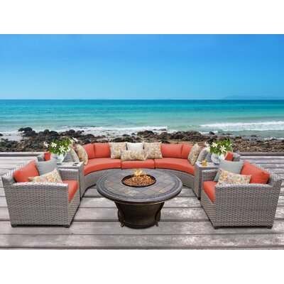 Florence Outdoor Wicker 8 Piece Fire Pit Seating Group with Cushion Fabric: Tangerine
