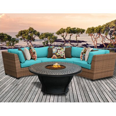 Laguna Outdoor Wicker 4 Piece Fire Pit Seating Group with Cushion Fabric: Aruba
