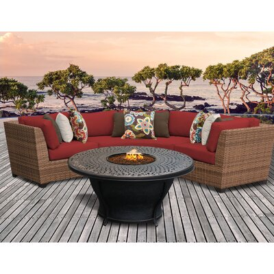 Laguna Outdoor Wicker 4 Piece Fire Pit Seating Group with Cushion Fabric: Terracotta